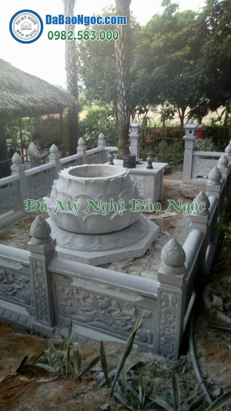 Mộ đá tròn thiết kế theo kiểu đài sen
