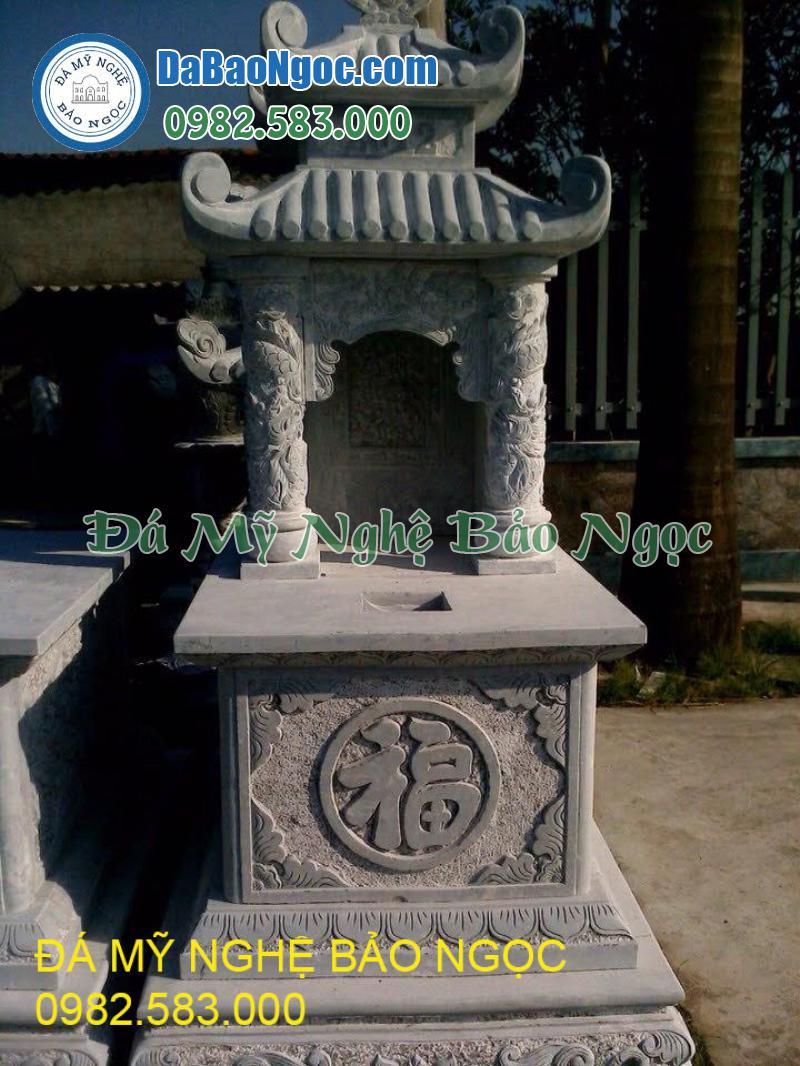 Mẫu mộ đá 2 mái ngói khắc chữ Phúc
