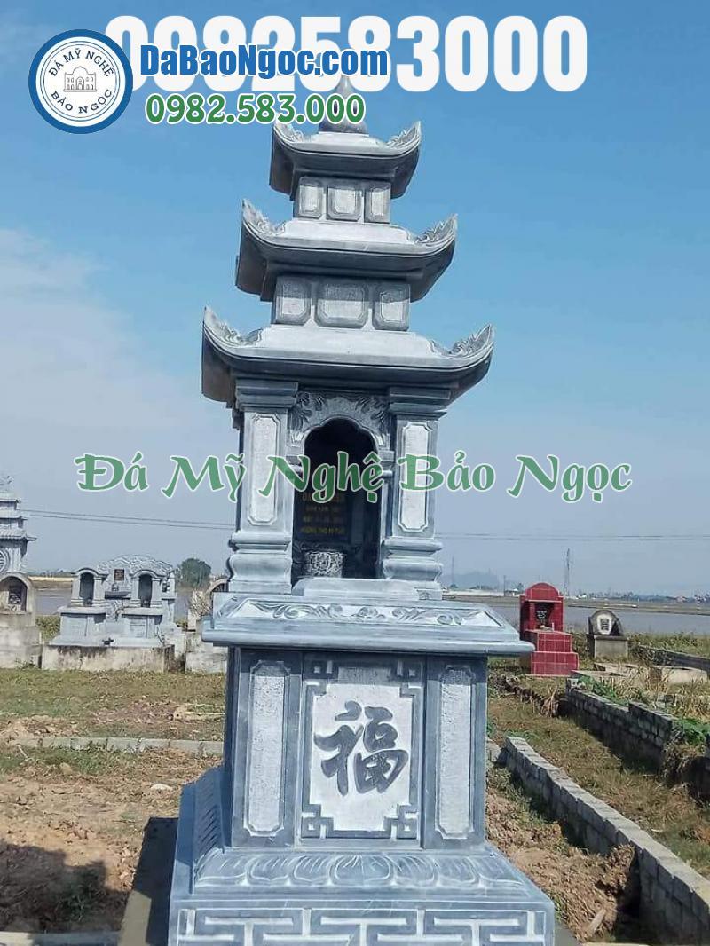 Mẫu mộ 3 mái trụ vuông thi công tại Thanh Hóa