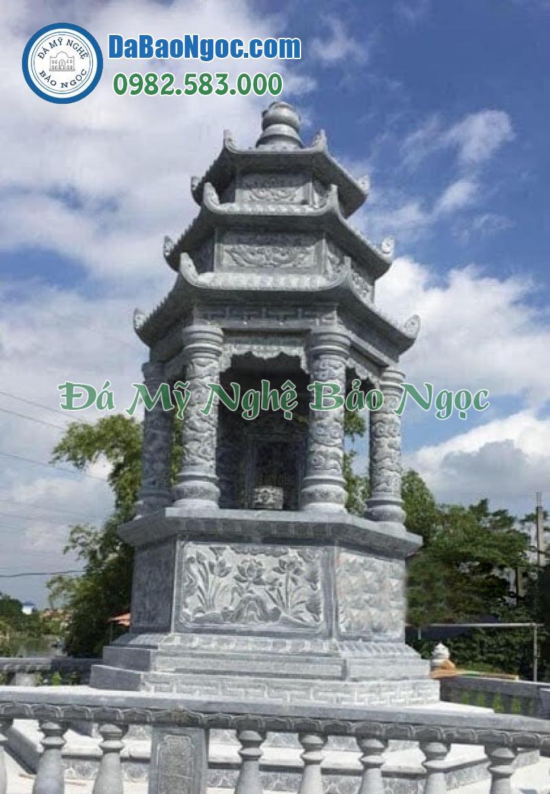 Mẫu mộ tháp phật giáo bằng đá xanh