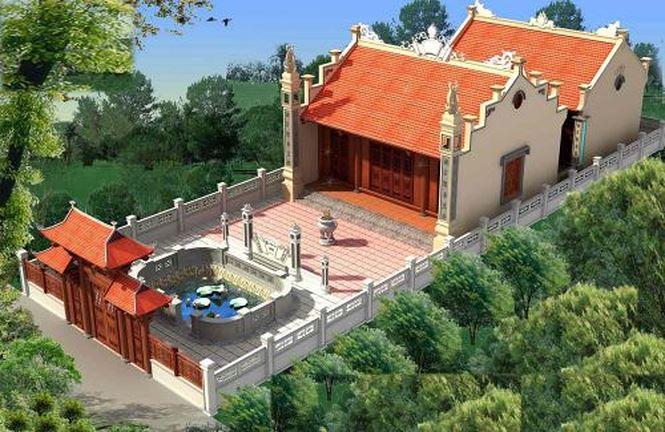 Hình ảnh nhà thờ họ với hồ nước