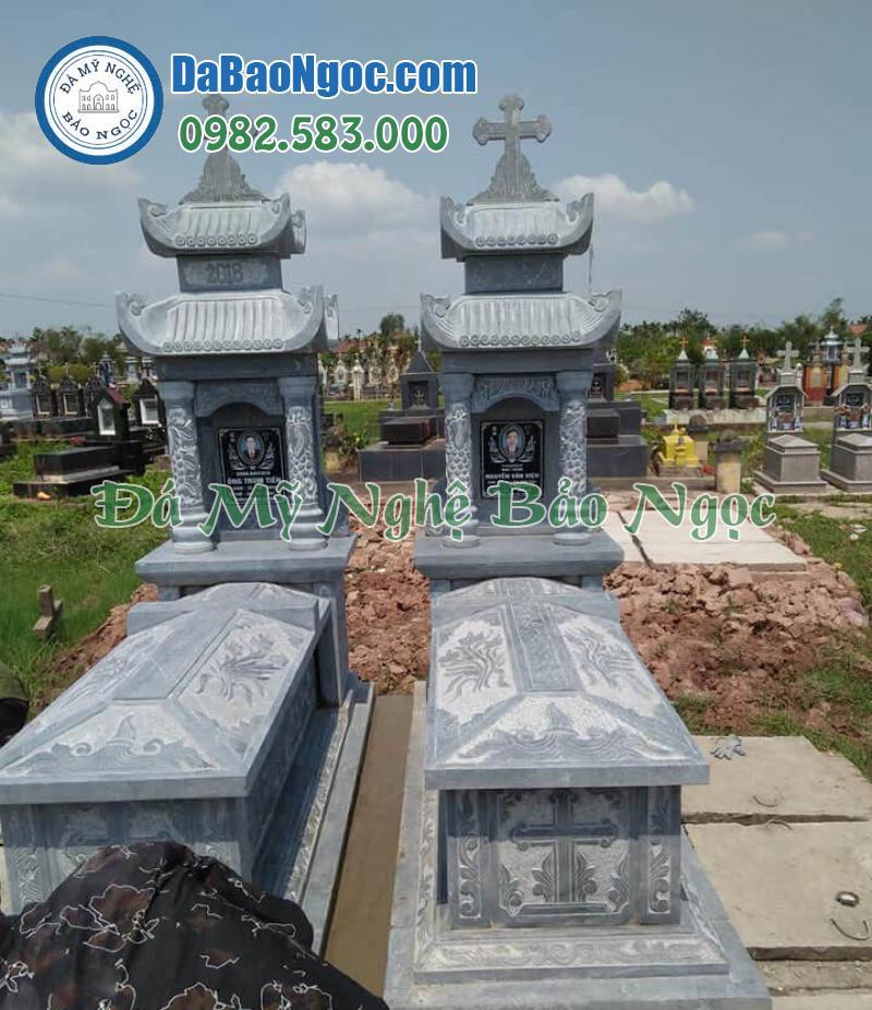 Mẫu mộ đá công giáo 2 mái